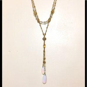 Vtg teardrop opal, honey glass beads Y necklace